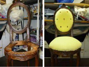Sedia stile Luigi Filippo restauro con poliuretano espanso